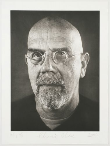 Self-portrait/photogravure by Chuck Close at Graphicstudio