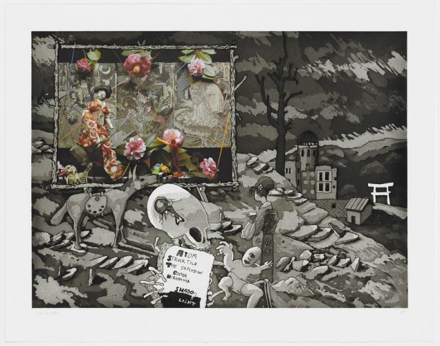 Atom Struck Tile The Explosion Center Hiroshima Shade/light by Robert Fichter at