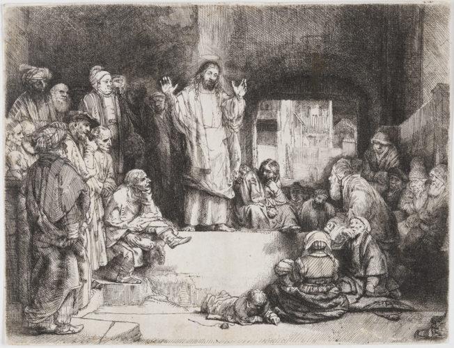 """Christ Preaching (""""la Petite Tombe"""") by Harmensz van Rijn Rembrandt"""
