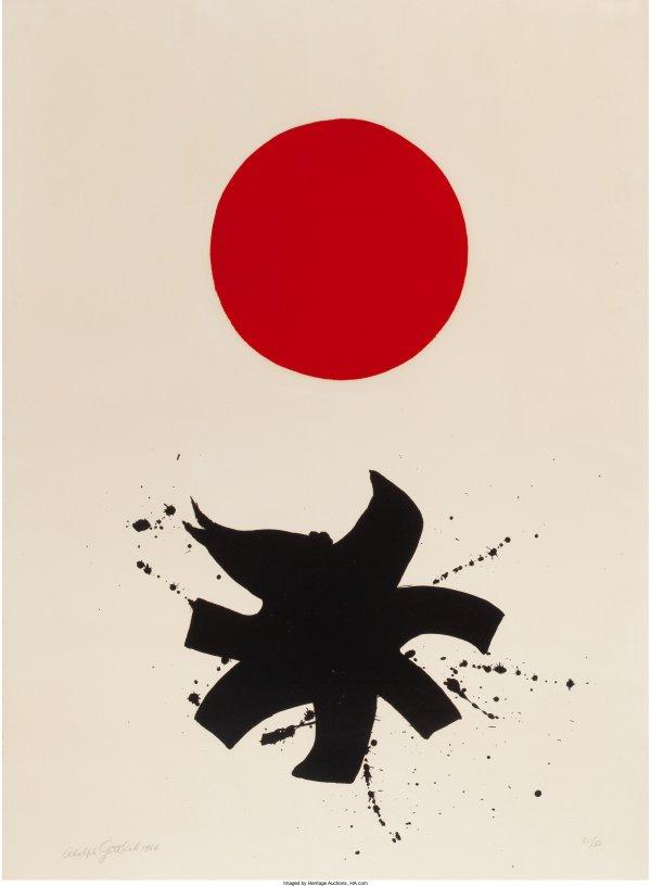 White Ground Red Disk by Adolph Gottlieb