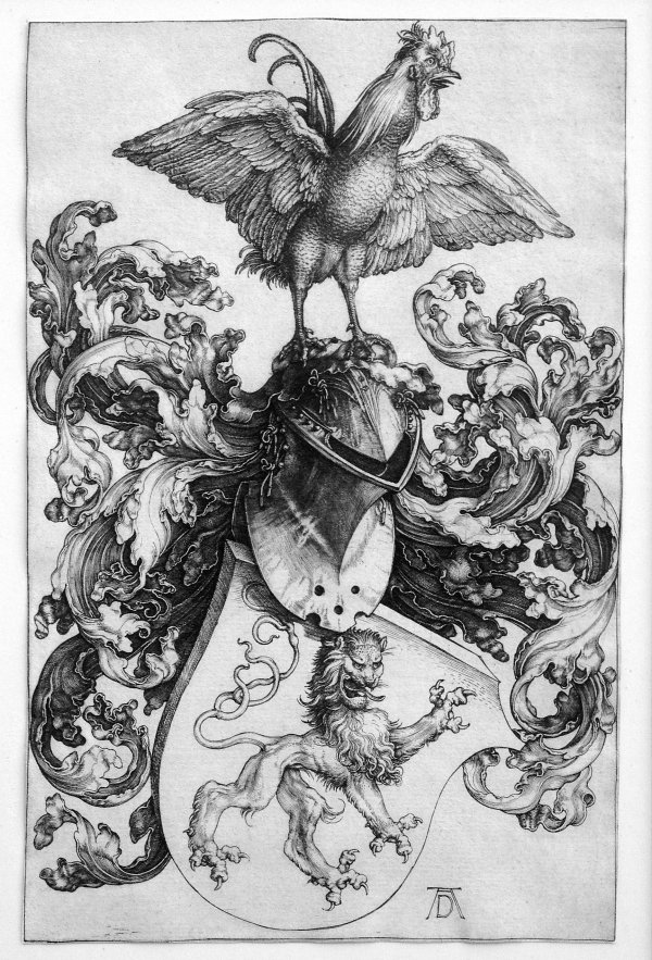Coat Of Arms With Lion And Cock by Albrecht Durer