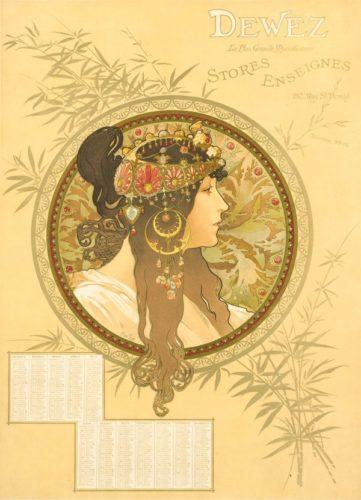 TÊte Byzantine – Brunette by Alphonse Mucha