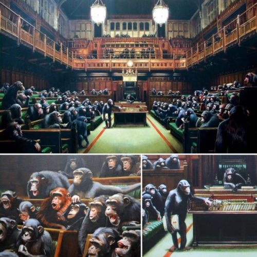 Monkey Parliament by Banksy at