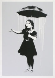 Nola (white Rain) by Banksy at Lieberman Gallery