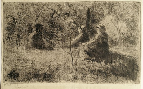 A Peaceful Sunday In The Woods by Camille Pissarro at Camille Pissarro