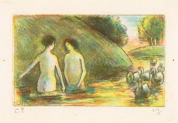 Baigneuses Gardeuses D'oies (bathing Women Tending Geese) by Camille Pissarro at