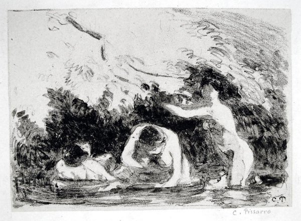 Women Bathing In The Shade Of Wooded Banks by Camille Pissarro at Camille Pissarro