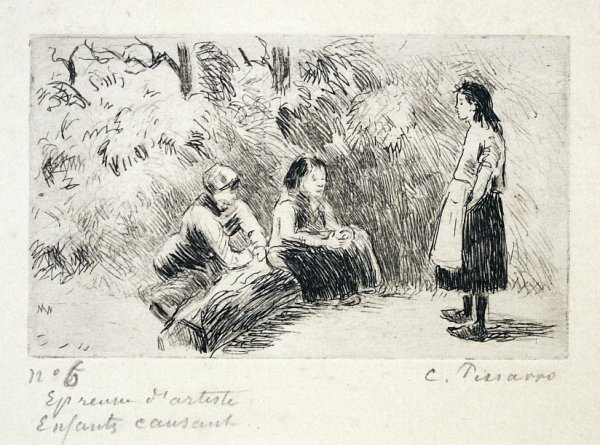Enfants Causant by Camille Pissarro at Camille Pissarro