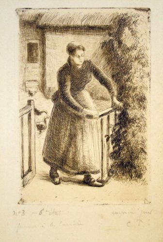 Femme A La Barriere (woman At The Gate) by Camille Pissarro at Camille Pissarro