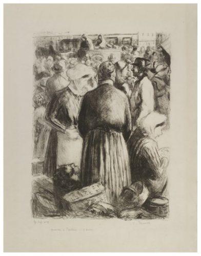 Marchè à Pontoise by Camille Pissarro at