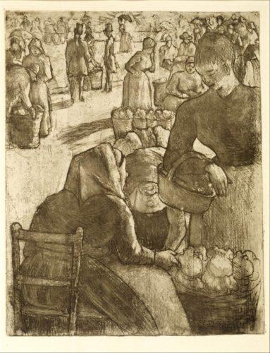 Marché Aux Légumes, à Pontoise by Camille Pissarro at