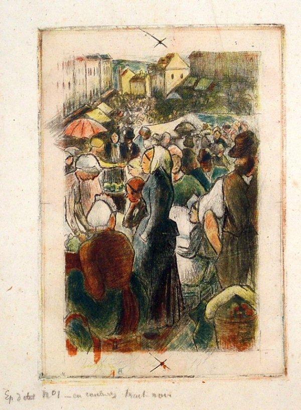 Marche De Gisors, Definitive State by Camille Pissarro