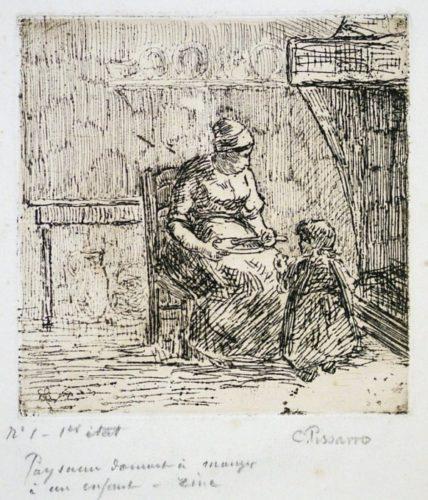 Paysanne Donnant A Manger A Un Enfant by Camille Pissarro at