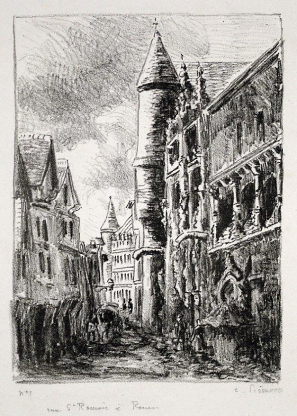 Rue Saint-romain, à Rouen by Camille Pissarro