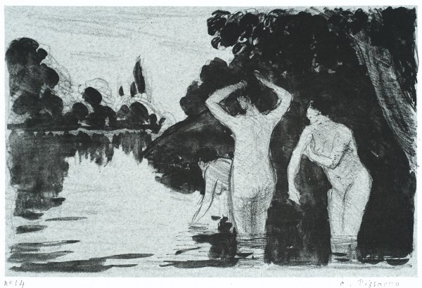 Women Bathing: Day by Camille Pissarro