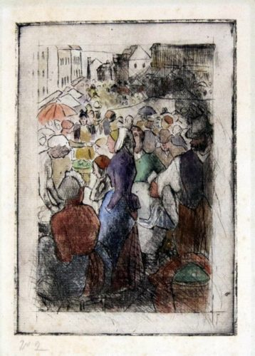 Marche De Gisors (rue Cappeville) by Camille Pissarro at