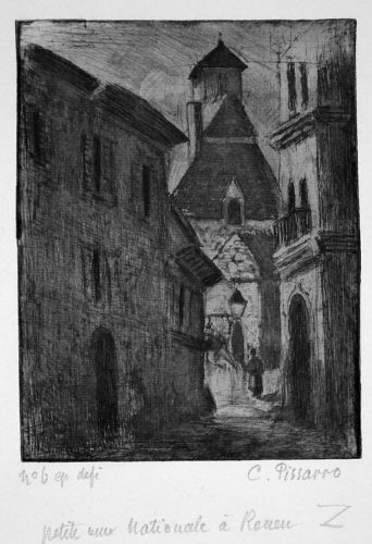 Narrow Street In Rouen (petite Rue Nationale, A R by Camille Pissarro at Camille Pissarro