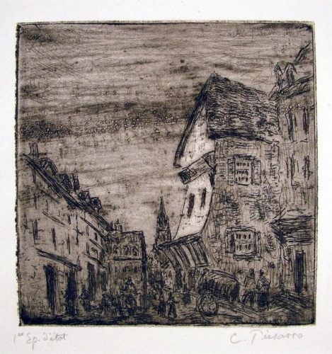 Vielle Rue A Rouen (rue Malpalue) by Camille Pissarro at