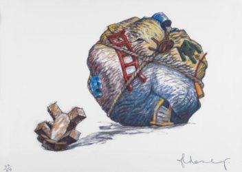 House Ball With Fallen Toy Bear by Claes Oldenburg at