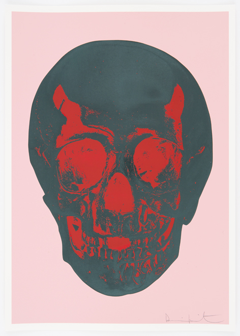 Candy Floss Pink Racing Green Pigment Red Pop Skull by Damien Hirst