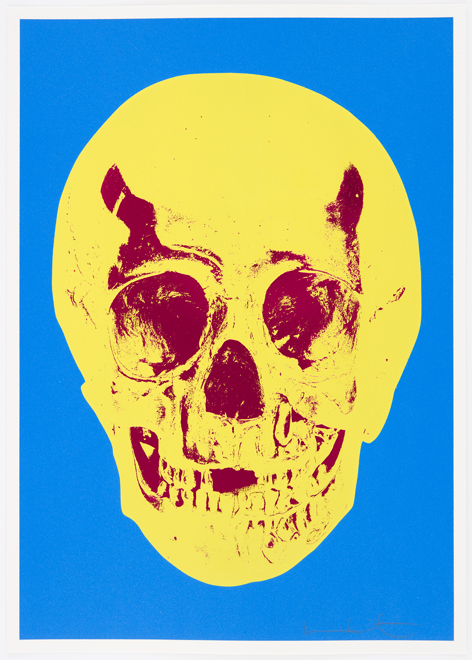 Cerulean Blue Pigment Yellow Royal Red Pop Up Skull by Damien Hirst