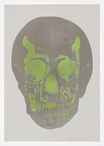 Dove Grey Gunmetal Leaf Green Skull by Damien Hirst at