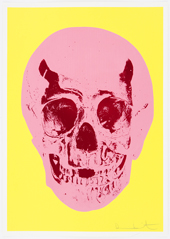 Heaven Lemon Yellow Pigment Pink Chilli Red Pop Skull by Damien Hirst at Damien Hirst