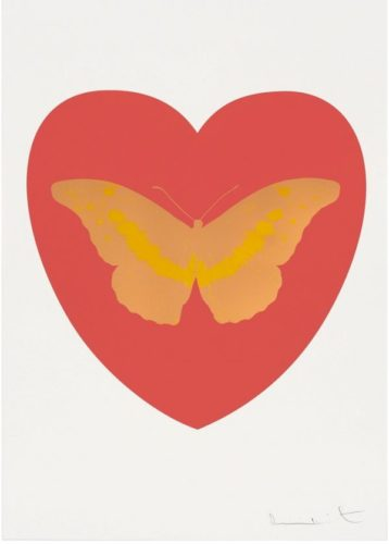I Love You – Coral/cool Gold/oriental Gold by Damien Hirst