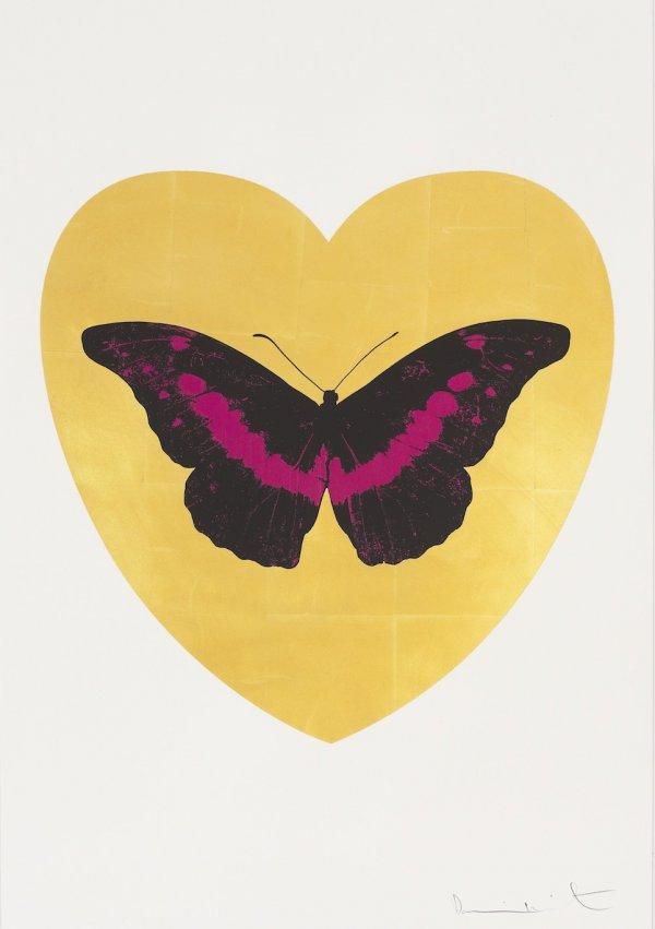 I Love You – Gold Leaf, Black, Fuchsia by Damien Hirst