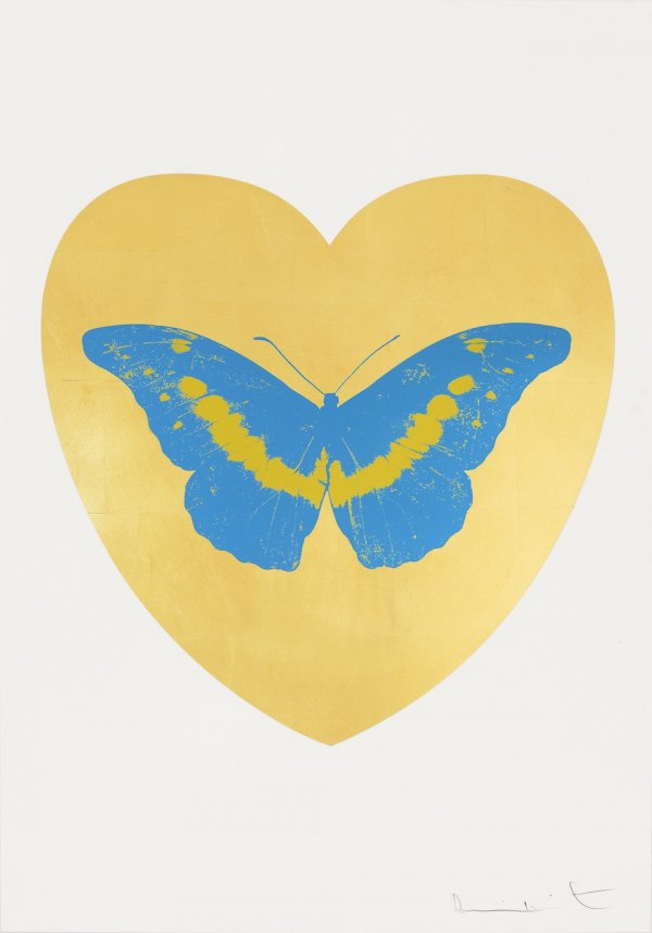 I Love You – Gold Leaf, Turquoise, Oriental Gold by Damien Hirst