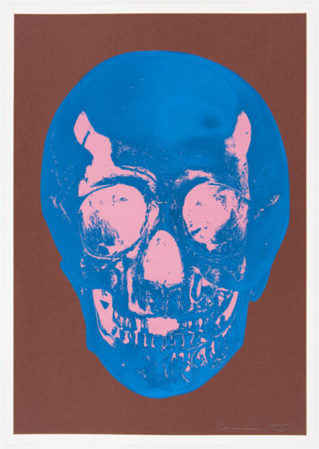 Milk Chocolate Brown True Blue Bubblegum Pink Skull by Damien Hirst