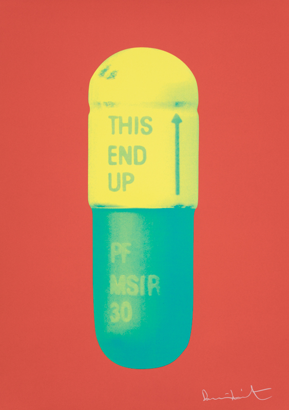 The Cure – Coral/lemon Yellow/turquoise by Damien Hirst