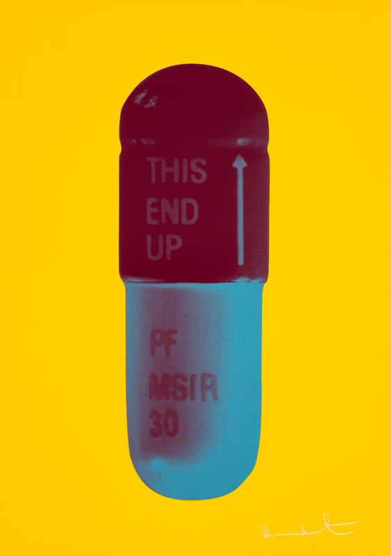 The Cure – Sunflower Yellow/merlot/sapphire by Damien Hirst