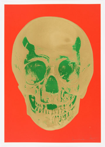 Time Bright Orange African Gold Emerald Green Pop Up Skull by Damien Hirst