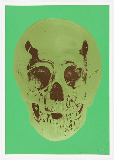 Viridian Leaf Green Chocolate Skull by Damien Hirst