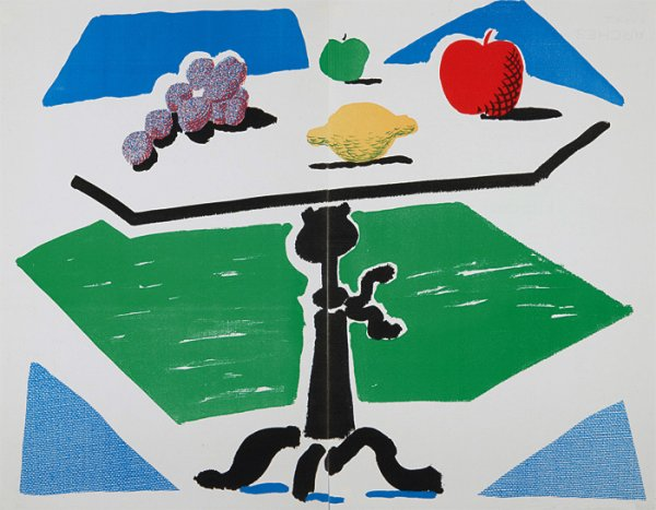 Apples, Grapes And Lemon On A Table by David Hockney at