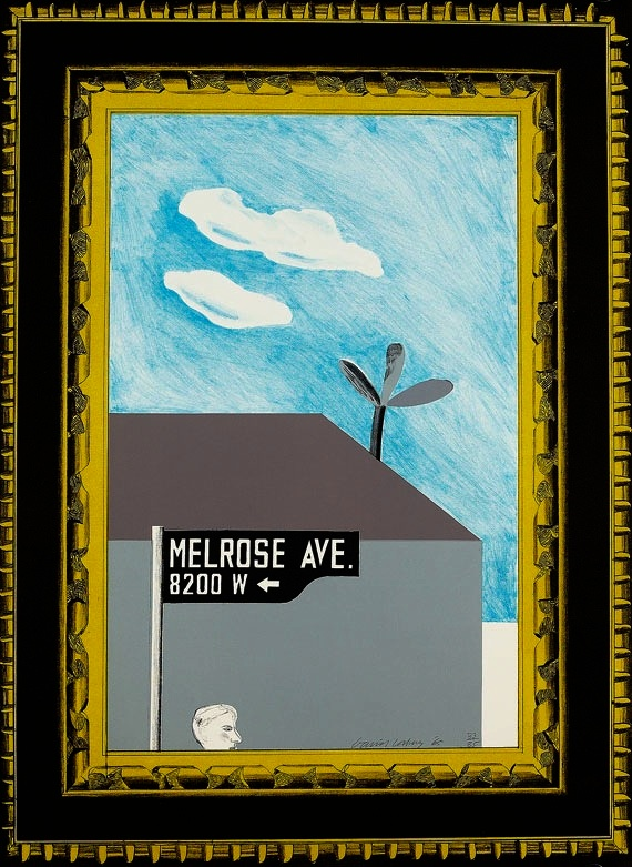 Picture Of Melrose Avenue In An Ornate Gold Frame by David Hockney
