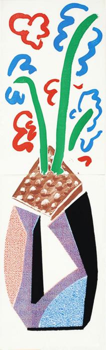 Red, Blue & Green Flowers, July 1986 by David Hockney