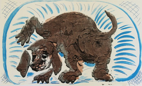 Stanley In A Basket, October 1986 by David Hockney at