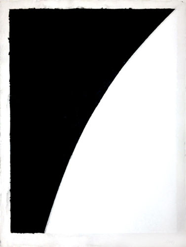Colored Paper Image I (white Curve With Black I) by Ellsworth Kelly