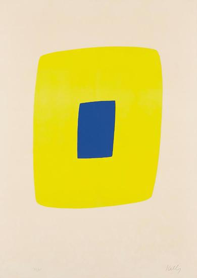 Yellow With Dark Blue by Ellsworth Kelly