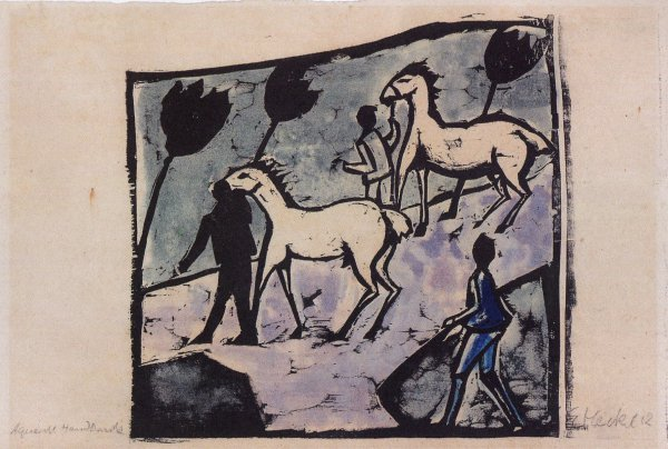 Weisse Pferde (white Horses) by Erich Heckel at