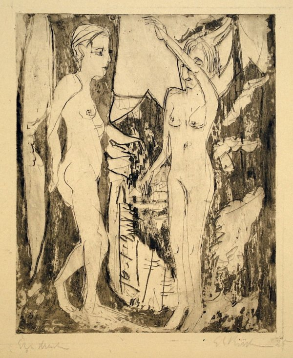 Two Standing Nudes by Ernst Ludwig Kirchner