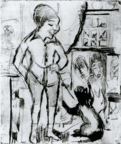 Bube Mit Katze – Im Wohnzimmer Wildboden by Ernst Ludwig Kirchner