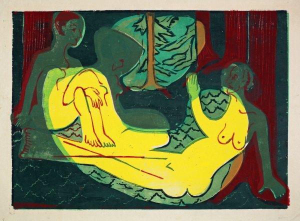 Drei Akte Im Walde by Ernst Ludwig Kirchner