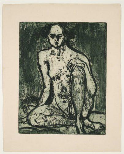 Sitzender Mädchenakt by Ernst Ludwig Kirchner at