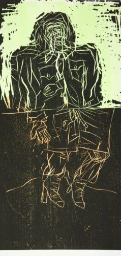 Maler Im Mantel – Zwei Streifen (remix) by Georg Baselitz at