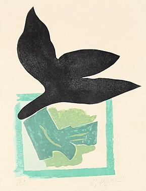 Oiseau Noir Sur Fond Vert by Georges Braque at
