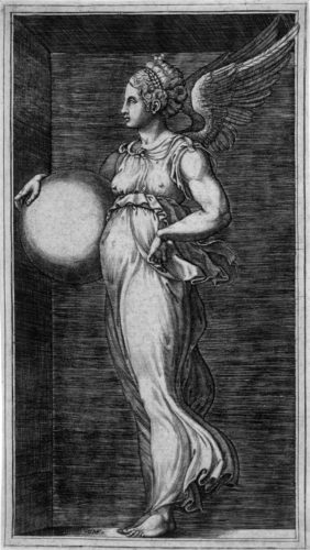 Allegorical Figure, Holding A Ball by Giorgio Ghisi at