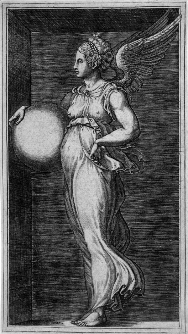 Allegorical Figure, Holding A Ball by Giorgio Ghisi